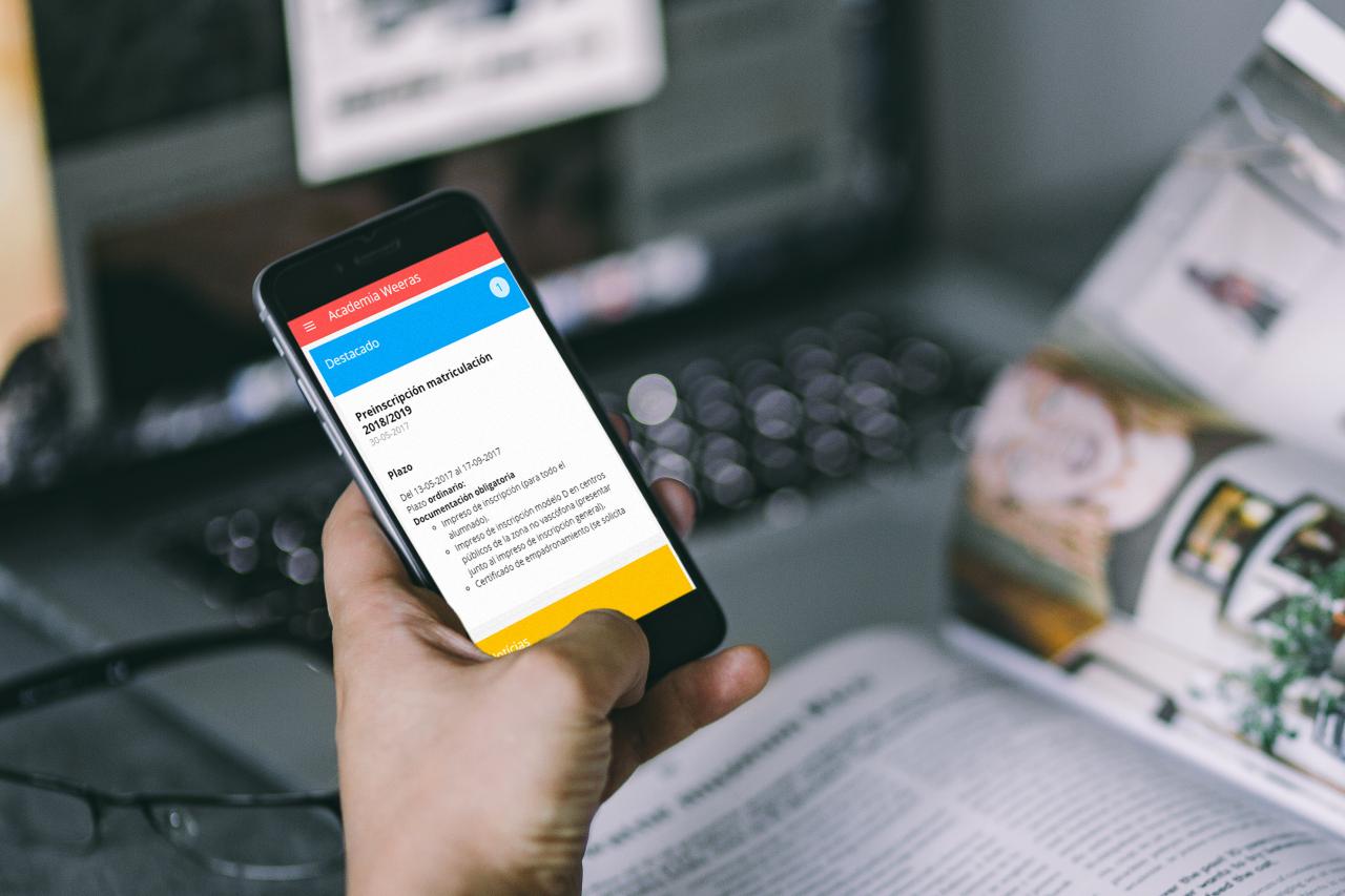 Entorno virtual de aprendizaje Weeras Platform, notificaciones